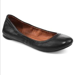 Lucky Brand Emmie Ballet Flats Black Leather 9.5